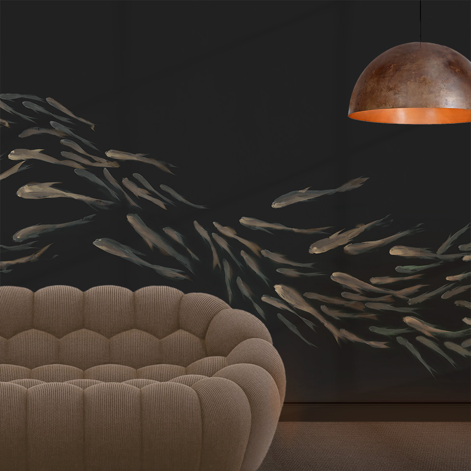 FLOW: hand-painted wallpaper