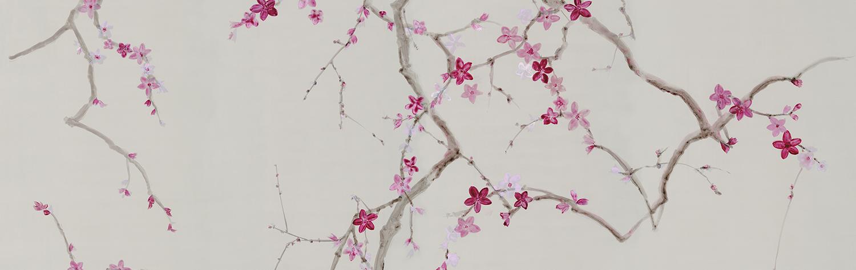 Buenaventura Handpainted Wallpapers Murals New Collection 2018 Water Reflexions Sakura